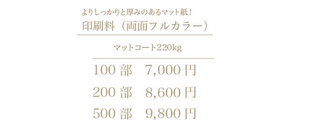 2つ折りショップカード印刷料金マット-2